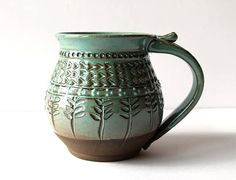 Handmade Mug MADE TO ORDER Pottery Mug Handmade Mug Carved