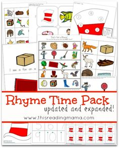 FREE Rhyme Time Pack {Updated and Expanded} with TONS of hands-on activities to reinforce identification and production of rhymes | This Reading Mama