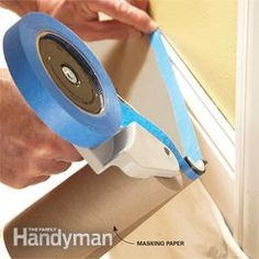 Best DIY Painting Tools (Masking tool in action).  Experts list the best tools for painting—including brushes, rollers, paint removers, masking tools, cleaning tools, pouring spouts, poles, ladders and more.