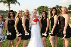 My girls! :  wedding black bouquet bridesmaids flowers red shoes white 00000462 M