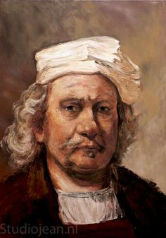 Jean Elliot painted a series of Rembrandt's self portraits in 2005 to commemorate the great Dutch painters birthday. This is a copy of his self portrait that he painted in Rembrandt Self Portrait, Dutch Painters, Old Things, Portraits, Birthday, Painting, Art, Art Background, Birthdays