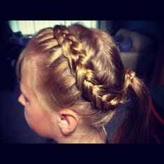 Easy & cute French braid. Start by the right ear and braid across like a headband. Continue the French braid to the other ear then finish with a regular braid separately and tie at the end. Gather the rest of the hair into a ponytail. Bring braid back and twist around ponytail holder and secure with bobby pin.
