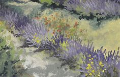 """Lavender Fields"" 8""x 12"" plein air oil on panel. Painted in Aix-en-Provance, France. Private Collection. http://lindsayjaneternes.com/workszoom/1388912. © Lindsay Jane Ternes"