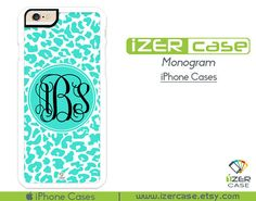 Monogram Personalized iPhone 6/6S Case, iPhone 6/6S PLUS, iPhone 5/5S,  iPhone 5C, iPhone 4/4S Turquoise Cheetah