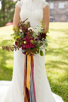 The perfect bouquet for a Fall wedding- LOVE the rich tones and the ribbon!