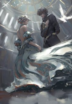 Oath - A painting of a man and a woman in a fantasy medieval setting. The man is drawn as if to promise something to the woman who appears to be of noble status or a princess with a crown and flowing blue dress.