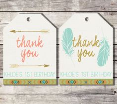 Tribal Favor Tags, Wild One Favor Tags, Arrow Thank You Tags, Boho Thank You Tag, Aztec, Baby Shower, Wild One Birthday Tags, Feathers Tags by SarahFinnDesign on Etsy