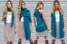 Colete de tricô multifuncional azul da marca Coleteria ♡ - Coletes femininos e infantis - Coleteria   sempre♡