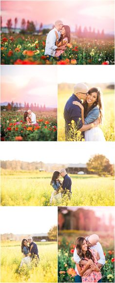 Sunset Flower Field Engagement session at Craven Farms in Snohomish Washington. Farm Engagement. Flower Field Engagement. Photos by Rachel Howerton Photography.
