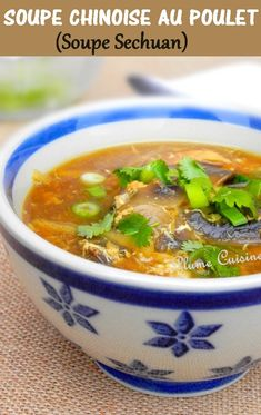 Soupe Chinoise au poulet, soupe Sechuan - The Best Chinese Recipes Asian Recipes, Gourmet Recipes, Soup Recipes, Cooking Recipes, Healthy Recipes, Ethnic Recipes, Gourmet Foods, Chicken Recipes, Chinese Chicken