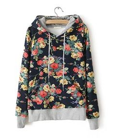 CrazyPomelo-Fashion-Floral-Flowers-Casual-Cotton-Hooded-Hoodie-for-Women-Dark-Blue-0