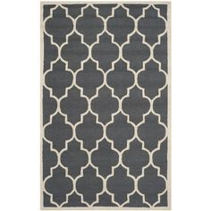 Sandra Hand Tufted Wool Dark Grey/Ivory Rug Canora Grey Rug Size: 200 x 300 cm Rotten, Cambridge, Rug Texture, Trellis Design, Interior Modern, Blue Ivory, Tile Patterns, Geometric Patterns, Geometric Designs