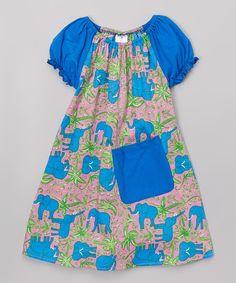 Royal Elephant Pocket Peasant Dress - Toddler & Girls