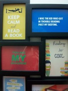 i like the idea of doing a montage frame like this of quotes about books right in the middle or above our bookcases..