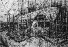 Featured on the back page of the AJ this week is an artwork by Jeanette Barnes that depicts the Crossrail Station at Canary Wharf by Foster and Partners Landscape Sketch, Landscape Architecture, City Drawing, Drawing Board, City Year, Sense Of Place, Gcse Art, Built Environment, Environmental Art