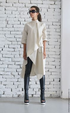 OFF Beige Asymmetric Shirt/Extravagant Oversize Tunic/Half Sleeve Casual Top/Short Maxi Dress/Cream Loose Shirt Dress : Beige Asymmetric Shirt/Extravagant Oversize by Metamorphoza Beige Maxi Dresses, Trendy Dresses, Casual Dress Outfits, Mode Outfits, Summer Outfits, Beige Dress Outfit, Dress Shoes, Outfit Des Tages, Long Tunic Tops