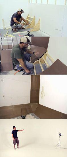 diy cyclorama wall    http://www.youtube.com/watch?v=dYuOJligxCk