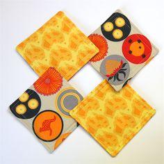 4 x Reversible Fabric Coasters - Golden Yellow & Orange Australia visions - monkey & Bee