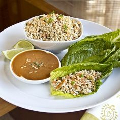 Thai-Style Peanut Chicken Lettuce Wraps with Sweetly Spicy Peanut Dipping Sauce