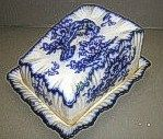 vintage Flow Blue cheese dish