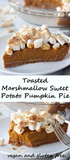 Nothing screams Thanksgiving like Toasted Marshmallow Sweet Potato Pumpkin Pie! (vegan, dairy free, egg free, nut free, and gluten free friendly)
