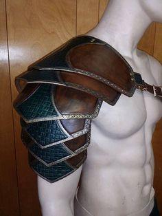 Leather Armor Ornate Sentinel 2 six piece segmented shoulder Armor Tattoo, Norse Tattoo, Viking Tattoos, Viking Armor, Larp Armor, Mode Steampunk, Armor Clothing, Armadura Medieval, Pauldron