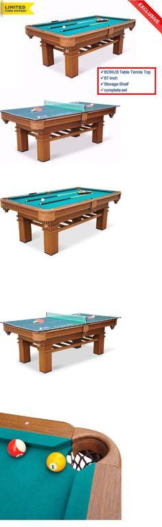 Tables 21213: Pool Table Billiard 87 Billiards Set Cues Balls Chalk W Bonus  Table Tennis
