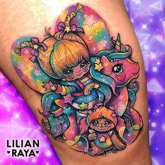 ⋆☽Magical Girl Rainbow Brite meets My Little Pony☾⋆ Tattoo/artwork by 💖Lilian Raya💖 ( Weird Tattoos, Badass Tattoos, Love Tattoos, Beautiful Tattoos, Body Art Tattoos, New Tattoos, Tatoos, Dream Tattoos, Future Tattoos