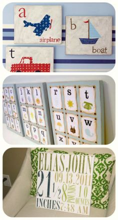 baby SHOWER homemade present ideas (60!)- TIP JUNKIE  New Baby Subway Art Canvas Tutorial ~ This homemade gift is a lovely way to welcome a new arrival to the world.  Personalize this gift with you favorite fonts featuring the date, time weight, etc.  It would be perfect for an after-the-birth baby shower.  You could also use this same technique for a wedding gift with their name, date, and place.
