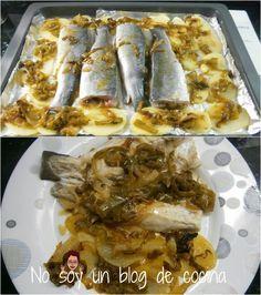 NO SOY UN BLOG DE COCINA: Lubina al horno con pimientos y patatas