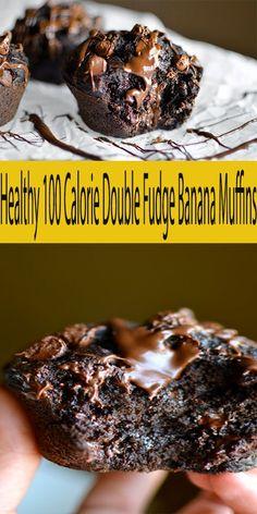 Banana Recipes Low Calorie, 100 Calorie Desserts, Low Calorie Muffins, Low Calorie Baking, Healthy Banana Muffins, Low Calorie Breakfast, Chocolate Banana Muffins, Healthy Breakfast Muffins, Banana Recipes No Egg