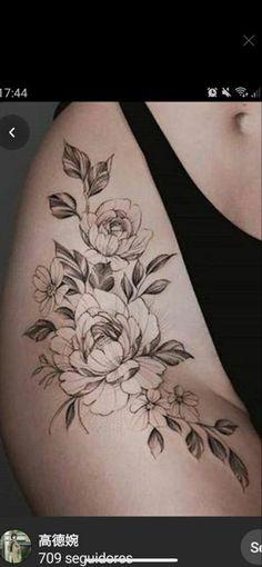 Flower Hip Tattoos, Hip Thigh Tattoos, Delicate Feminine Tattoos, Sexy Tattoos For Women, Dragon Sleeve Tattoos, Sexy Hips, First Tattoo, Piercings, Tattoo Ideas