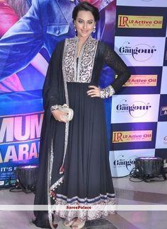 Sonakshi Sinha Style Black Net Anarkali Suit