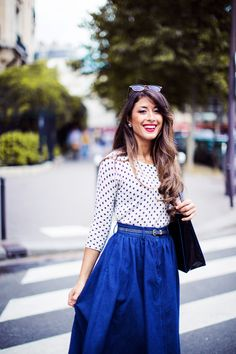 Polka Dot Fantasy | Parisian inspired outfit, full blue denim midi skirt, polka dot sweater | See the outfit details on my blog http://www.mimiikonn.com/ and the Paris fashion video here https://www.youtube.com/watch?v=CuUMX_xgL8w :)