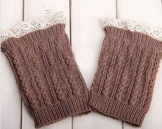 Knitted Boot Cuffs Stretchy Lace Khaki Faux Leg by KnittedLegs