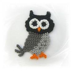 SaVö-Design - Eule grau gehäkelt, Häkelapplikation, crochet owl, Applique