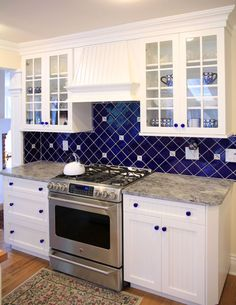 Blue-and-white backsplash tiles are timeless and classic. More tile ...