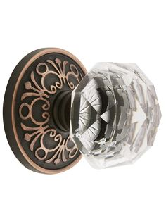 Knob Sets. Lancaster Door Set With Diamond Crystal Glass Knobs.
