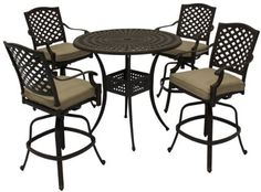 """Patio Furniture Aluminum Somerset 5PC Bar Set by 101patiofurniture.com. $1609.00. Product Material: Cast Aluminum. Patio Furniture Aluminum Somerset 5PC Bar Set. Color: Brown. Set includes:  (1) 42"""" x 29""""H round bar table  (4) bar stool: 23""""W x 17""""D x 46""""H"""
