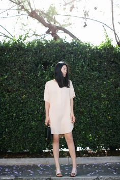 ZARA nude dress + THE ROW bag + CÉLINE sandals