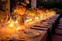 Create the right ambiance to go with your dinner courses! The warmth & glow of this table is captivating.