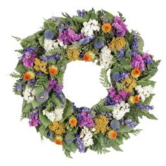 Adorned with preserved yellow yarrow and safflower, this charming wreath is a welcoming accent on an entryway wall or displayed above your mantel.
