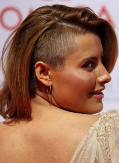 Bald Hairstyles - One Side Shaved Long Bob Hairstyle This hairstyle features a long bob with a crew cut shave at one side of the head. Create a part between the two sections and carry the entire look off gracefully.