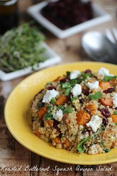 Roasted Butternut Squash Quinoa Salad with goat cheese, cranberries and other drool worthy ingredients tossed in a delectable homemade lime-soy dressing!