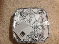 222 Fifth Dessert Plates - Adelaide Grey - New With Tags - Set of 4 #222Fifth