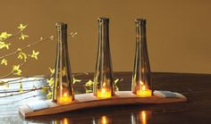 Votives made with barrel wood and wine bottle tops