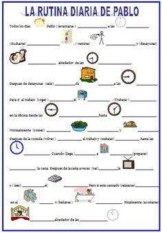 """La rutina diaria (verbos reflexivos + la hora) [vía """"español para inmigrantes""""]"""