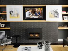 Is a giant black box causing a decorating dilemma in your house? HGTV Magazine experts share their best tricks. Tv Cover Up, Home Living Room, Living Room Decor, Hidden Tv, Tv Wall Decor, Plaza, Family Room, New Homes, House Design