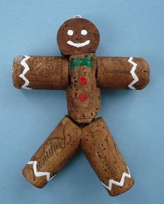 Wine Cork Gingerbread Man Christmas Tree by Shadetreecarvings