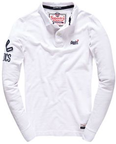Mens - Classic Pique Polo Shirt in Optic White Pique Polo Shirt, Polo T Shirts, Men's Polos, Long Sleeve Polo, Long Sleeve Shirts, Urban Fashion, Men's Fashion, White Shirt Men, Mens Clothing Styles